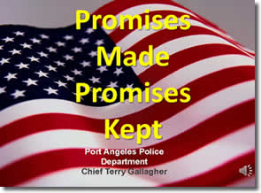 Promises Made Promises Kept Presentation Cover with flag background
