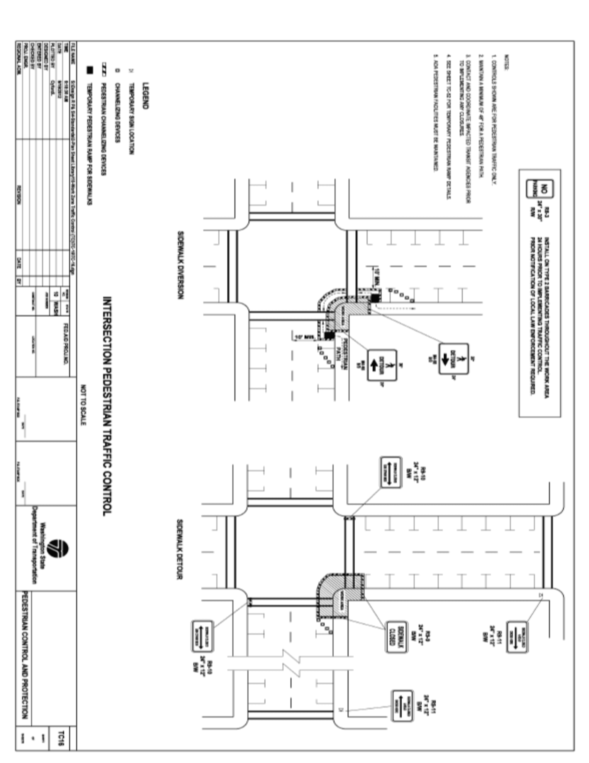 Sidewalk Closure Intersection Standard Traffic Control Plan Image