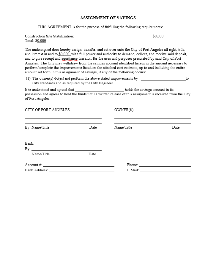 Assignment of Savings Standard Form Image